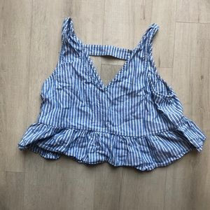 Like New! Abound! Size L! Blue and White Crop